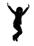 Woman winter coat jumping happy silhouette Royalty Free Stock Images