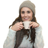Woman in winter with cup Royalty Free Stock Image