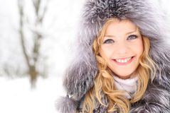 Woman in winter day Royalty Free Stock Images