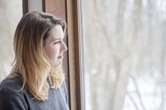 Woman with winter depression stock image