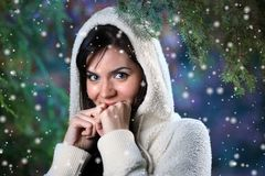 Woman in winter forest Royalty Free Stock Image