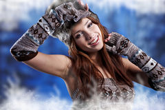 Woman in winter fur coat Stock Image