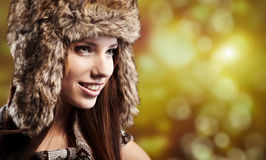 Woman in winter fur coat Royalty Free Stock Photos