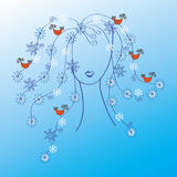 Woman with winter hair Stock Image