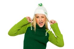 Woman in winter hat Royalty Free Stock Image