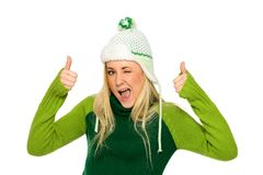 Woman in winter hat Stock Images