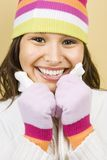Woman in winter hat. royalty free stock image