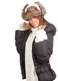 Woman in winter hat and black coat Royalty Free Stock Photography
