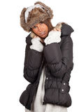 Woman in winter hat and black coat Stock Photography
