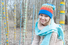 Woman winter hat forest Royalty Free Stock Photo