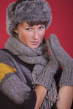 Woman in winter hat and gloves Royalty Free Stock Images