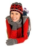 Woman in winter hat and mitters Royalty Free Stock Photography