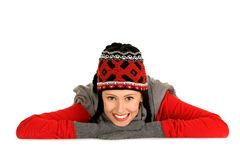 Woman in winter hat and mitters Royalty Free Stock Image