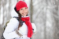 Woman winter hiking in snow Royalty Free Stock Image