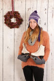 Woman in winter with ice skates Stock Photos