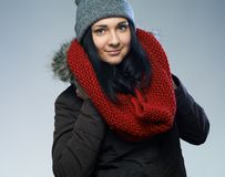 Woman in winter jacket Royalty Free Stock Images