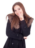 Woman in winter jacket with fur Stock Images