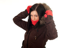 Woman in winter jacket with fur on hood Stock Image