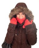 Woman in winter jacket with fur on hood Royalty Free Stock Photos