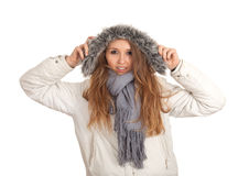Woman in winter jacket with fur on hood Royalty Free Stock Images
