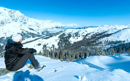 Woman on winter mountain top Stock Image