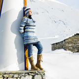 Woman in winter mountains Royalty Free Stock Photos