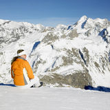 Woman in winter mountains Stock Image