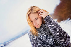 Woman in winter nature Stock Photo