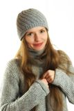 Woman in winter outfit. Beautiful woman in a winter outfit, over white and isolated Stock Images