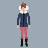 Woman in winter outfit. Attractive Asian lady in winter outfit. Flat vector illustration Royalty Free Stock Images