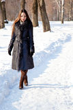 A woman is in the winter park Royalty Free Stock Photography