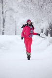 Woman in winter park Stock Image