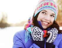 Woman in winter park Stock Photos