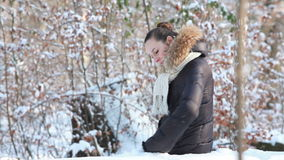Woman in winter park stock footage