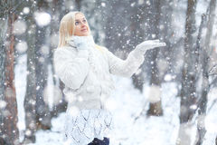 Woman in winter park Royalty Free Stock Photos