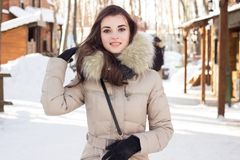 Woman in winter park Royalty Free Stock Images