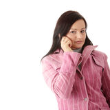 Woman in winter pink coat Stock Photography