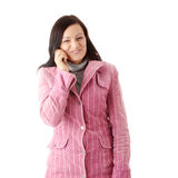 Woman in winter pink coat Stock Photo