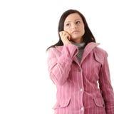 Woman in winter pink coat Stock Image