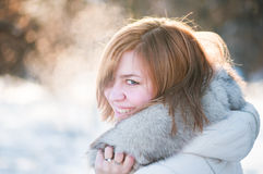 Woman winter portrait. Shallow dof. Royalty Free Stock Image