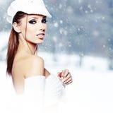Woman winter portrait. Shallow dof. Royalty Free Stock Photo