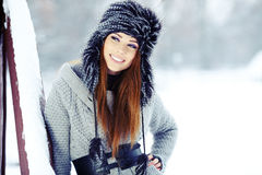 Woman winter portrait. Shallow dof. Stock Photography