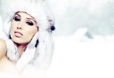 Woman winter portrait. Shallow dof. Royalty Free Stock Photos