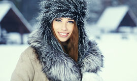 woman winter portrait. Shallow dof. Royalty Free Stock Image