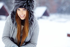 Woman winter portrait. Shallow dof. Stock Image