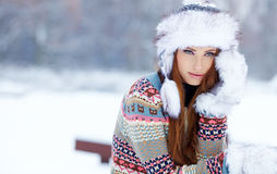 Woman winter portrait. Shallow dof. Royalty Free Stock Photography