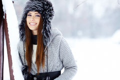 Woman winter portrait. Shallow dof. Stock Images