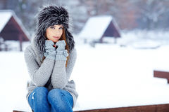 Woman winter portrait. Shallow dof. Stock Photo