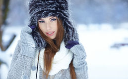 Woman winter portrait. Shallow dof. Royalty Free Stock Images