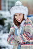 Woman winter portrait. Shallow dof. Stock Image